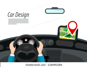 Car Interior with Hands on Steering Wheel and Red Pin on GPS Navigation