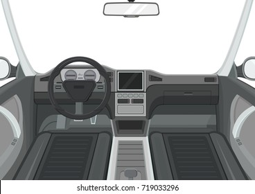 Car interior. Inside view of car. Dashboard and navigation panel. Vector illustration.