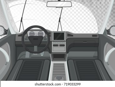 Car interior. Inside view of car. Wiper cleans the windshield. Transparent effect. Vector illustration.