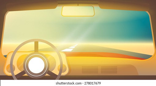 Car interior. View from inside of the car. Shiny vector illustration. Travel background. Car background. Travel picture. Travel concept. Desert travel. Car look. Sunny desert. Car interior background.