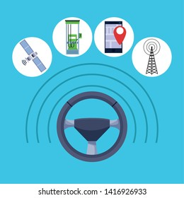 car internet conectivity rudder with technology icons with satelite, cellphone with location symbol, transmition tower and gas station cartoon vector illustration graphic design