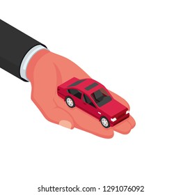 Car isometric holding in hand. Vector illustration 3D design. Isolated on white background. As a template for web pages sales and rental auto.