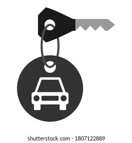 Car key with keychain icon, key ring with car tag, black isolated on white background, vector illustration.