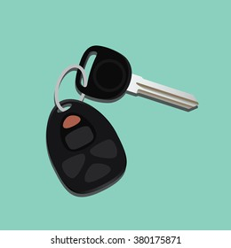 car keys isolated with black and green background vector illustration