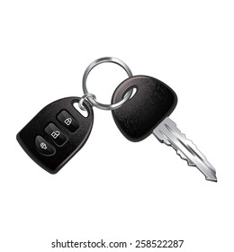 Car keys isolated on white photo-realistic vector illustration
