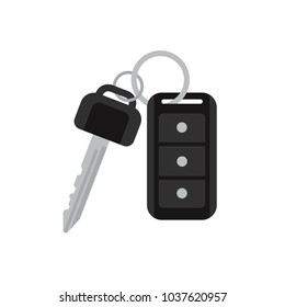 Car keys with remote vector illustration isolated on white. Flat style