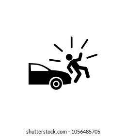 Car Knock Down Pedestrian. Flat Vector Icon. Simple black symbol on white background