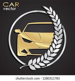 car laurel wreath golden silver logo