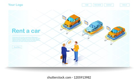 Car leasing isometric illustration. Vehicle rental and purchase. Automobile lease infographic. Dealership salon and showroom. Car rental deals. Website, banner design. Isolated vector