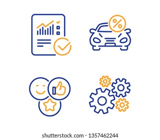 Car leasing, Like and Checked calculation icons simple set. Cogwheel sign. Transport discount, Social media likes, Statistical data. Engineering tool. Technology set. Linear car leasing icon. Vector