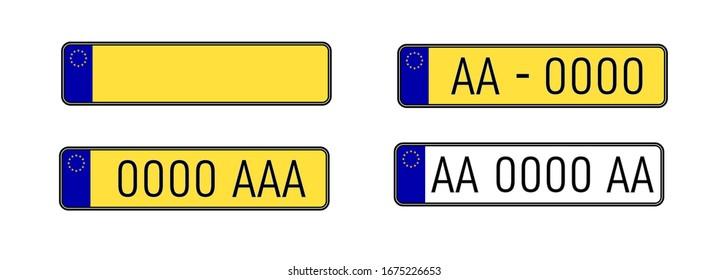 Car license plate set. number plate. Vehicle registration plates