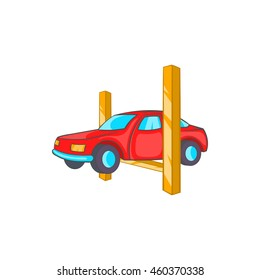 Car lifting icon in cartoon style on a white background