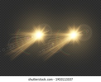 Car lights effect on dark transparent background. Realistic headlights concept. Automobile white flares isolated. Bright car beams at night. Auto rays on road. Vector illustration.