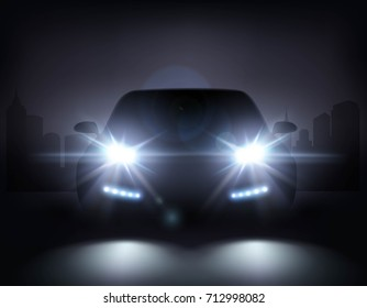 Car lights realistic composition of night urban scenery and stylish automobile silhouette with headlights and shadows vector illustration