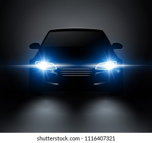 Car lights realistic front silhouette view. Automobile vector car headlights in darkness.
