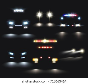 Car lights set of realistic headlight and light bar images and compositions of car silhouettes vector illustration