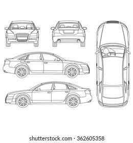 Blueprint car images stock photos vectors shutterstock car line art all view four view top side back malvernweather Images