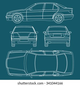 Car line draw blueprint condition report  form vector