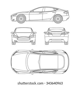 Car drawing images stock photos vectors shutterstock car line draw blueprint front four view side top back all malvernweather Gallery