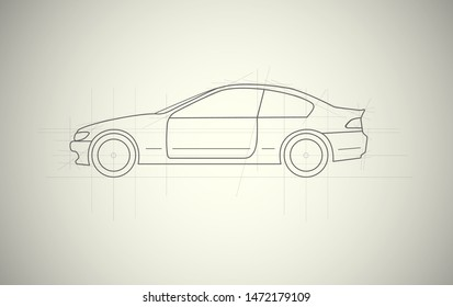 Car line draw blueprint side view. Vector illustration.