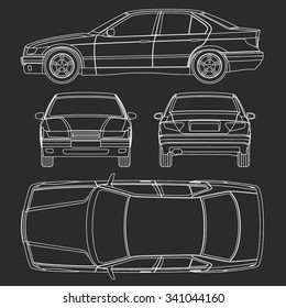 Car line draw condition report  all view form vector