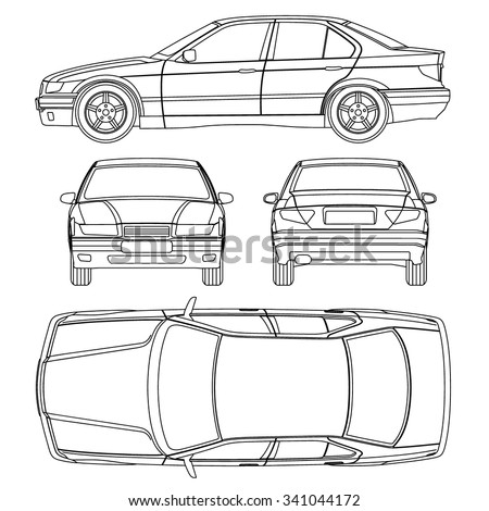 Car Line Draw Condition Damage Report Form Vector