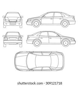 Line drawing car top view stock images royalty free images car line draw insurance rent damage condition report form blueprint malvernweather Gallery