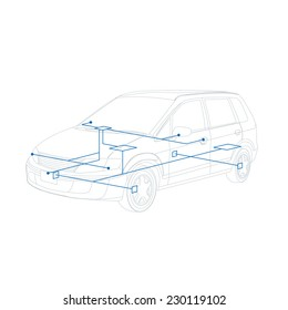 car line drawing and network, vector