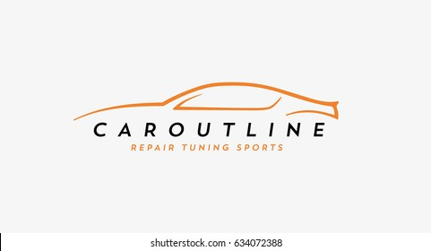 Car line drawing,elegant and stylish sign for automotive business