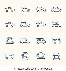Car line icon set