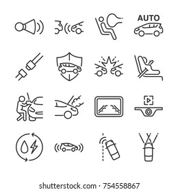 Car line icon set. Included the icons as car horn, seat, camera, airbags, insurance, belt and more.
