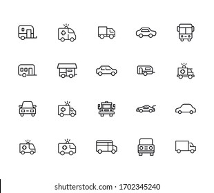 Car line icons set. Stroke vector elements for trendy design. Simple pictograms for mobile concept and web apps. Vector line icons isolated on a white background.