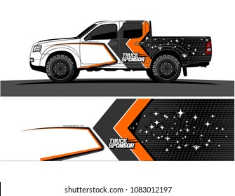 car livery Graphic vector. grunge background design for pickup truck and vehicle vinyl wrap