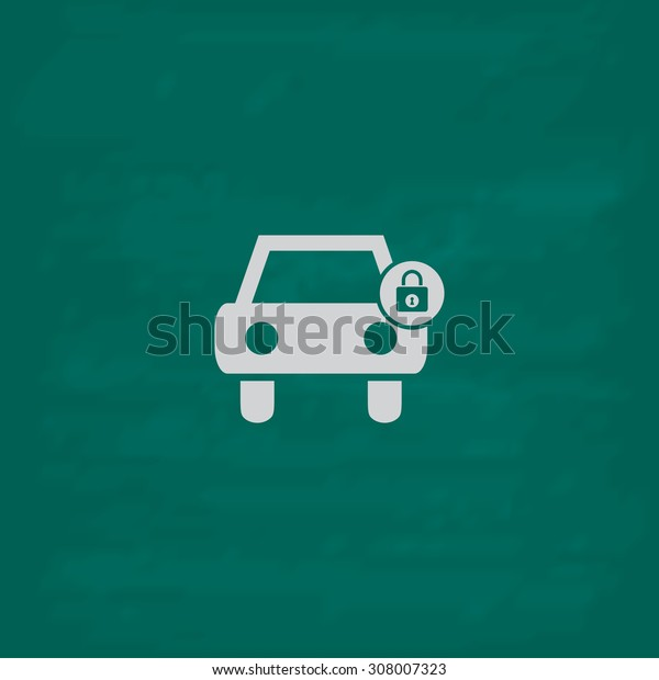Car lock. Icon. Imitation draw with white chalk on green chalkboard. Flat Pictogram and School board background. Vector illustration symbol