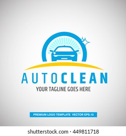 Car logo concept. With Auto Clean text template. Vector Eps.10