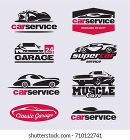 car logo, car service labels, garage