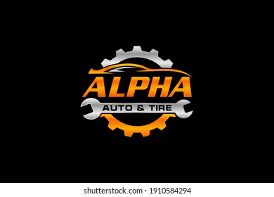 Car logo in simple line graphic design template vector