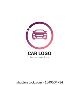 Car logo template design. Car logo with modern frame isolated on white background