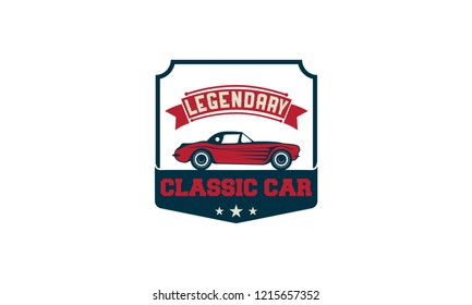 Car logos templates vector design elements, vintage style emblems and badges retro illustration. Classic cars repairs, tire service silhouettes.