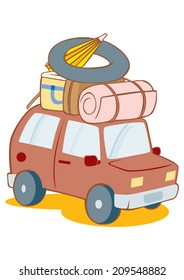 car with luggage for trip