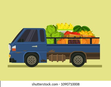 Car machine full of vegetables fruit. Farm agriculture summer time isolated cartoon flat illustration
