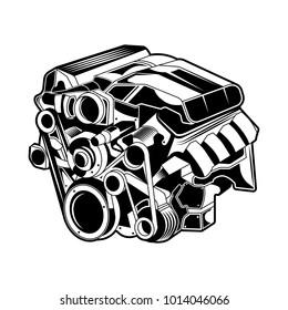Car Machine Vector Isolated Engine Monochrome
