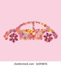 Car made from flowers on a pink background.