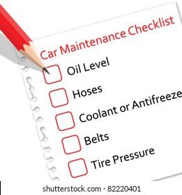 Car maintenance checklist on paper