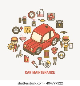 car maintenance illustration outline characters and icons
