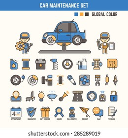 car maintenance infographic elements for kid including characters and icons