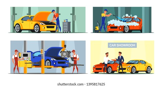 Car maintenance service flat illustrations set. Car wash and repair auto workshop. Vehicle manufacturing and production. Auto dealership industry. Customer buying new automobile in showroom