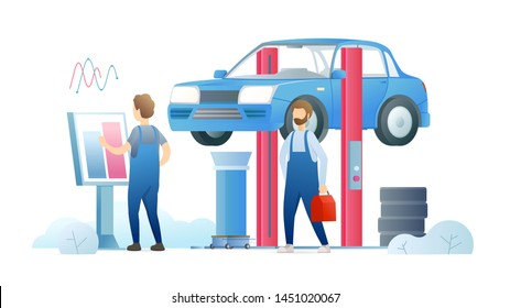 Car maintenance service flat vector illustration. Repair station workers, mechanics in uniform cartoon characters. Professional automobile diagnostics workshop. Repairman working with terminal stand.