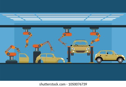 Car manufacturing process with smart robotic automotive assembly line, Factory of conveyor for assembly of cars, Modern engineering systems vector illustration.