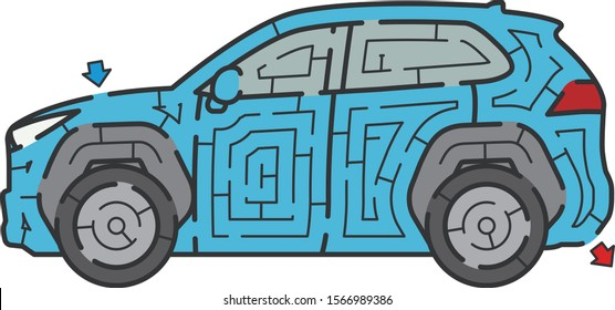 Car maze. It is suitable for brain training.